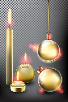 Candele dorate e collezione di palle di natale decorazioni natalizie isolato su sfondo scuro