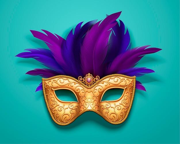 Maschera di carnevale dorato con decorazioni di piume viola su blu, stile 3d