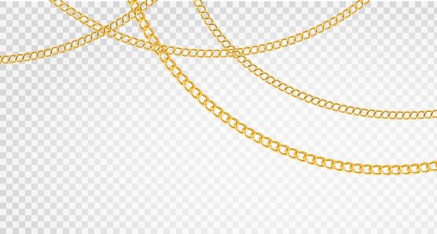 Catena d'oro e catene di lusso di forme diverse, gioielli realistici in oro, elementi in metallo dorato
