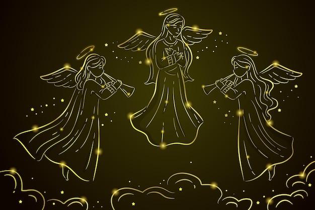 Collezione di angelo di natale dorato