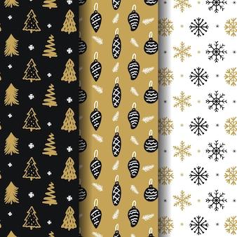 Collezione di motivi natalizi dorati