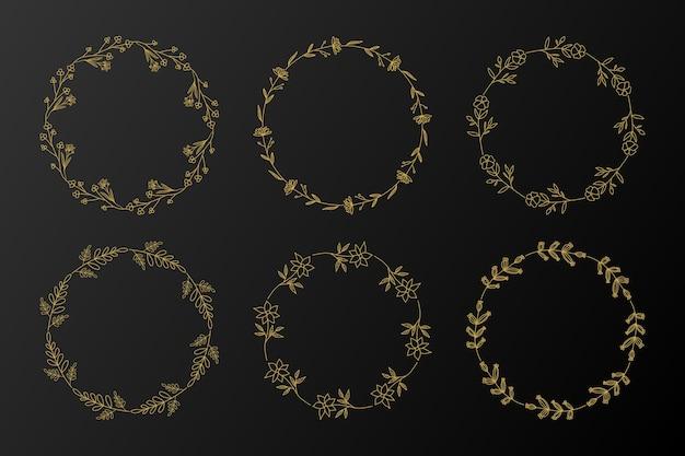 Set di cornici floreali cerchio dorato. ghirlanda disegnata a mano