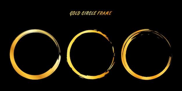 Cornice dorata del cerchio, cerchio dorato disegnato a mano