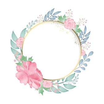 Cornice a cerchio dorato con ghirlanda floreale ad acquerello colorato