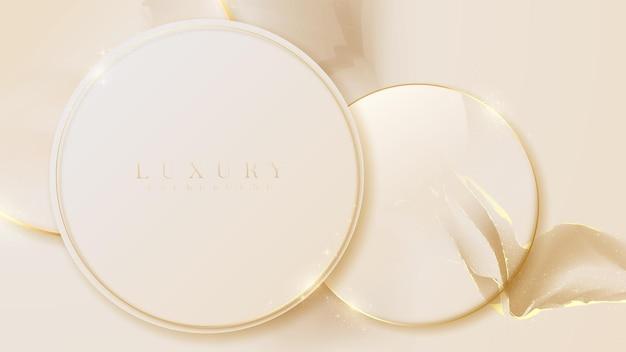 Cerchio dorato su fondo di marmo di lusso. stile realistico 3d. illustrazione vettoriale.