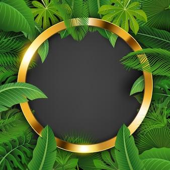 Golden circle con spazio testo circondato da foglie tropicali