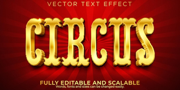 Effetto testo circo dorato, lusso modificabile e stile ricco di testo