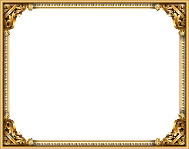 Cornice barocca rococò classica dorata. grafica vettoriale. cornice di lusso per la pittura o la copertina di una cartolina