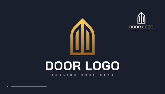 Design del logo della porta chiusa dorata. logo della proprietà della porta