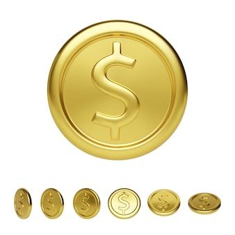 Vista frontale della moneta d'oro e posizione diversa. rendering realistico della moneta metallica lucida. finanza e denaro. illustrazione vettoriale