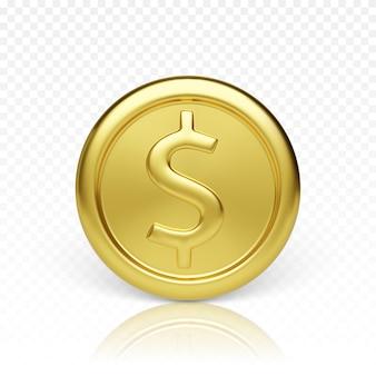 Vista frontale della moneta d'oro. rendering realistico della moneta metallica lucida. finanza e denaro. illustrazione vettoriale