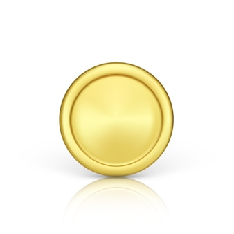 Vista frontale della moneta d'oro. rendering realistico della moneta metallica. finanza e denaro. illustrazione vettoriale isolato su sfondo bianco