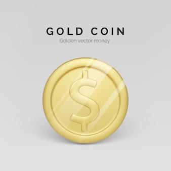 Vista frontale della moneta d'oro. rendering realistico della moneta metallica. finanza e denaro. illustrazione vettoriale