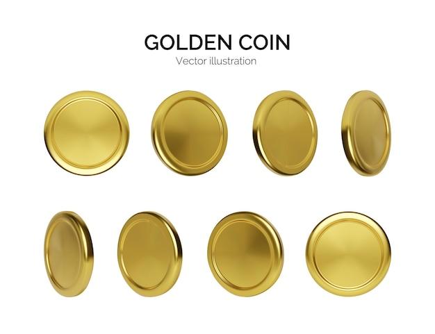 Rotazione della moneta d'oro. finanza e denaro. rendering realistico denaro d'oro. moneta metallica lucida. illustrazione vettoriale