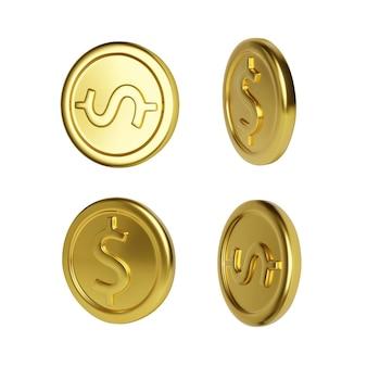 Rotazione della moneta d'oro. rendering realistico denaro d'oro. moneta metallica lucida. finanza e denaro. illustrazione vettoriale Vettore Premium