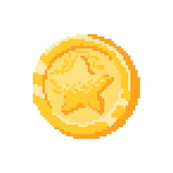 Moneta d'oro con stella in pixel Vettore Premium