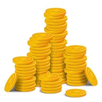 Grande pila di monete d'oro. mucchio di hyge del bene realistico del gioco dei soldi lucidi variopinti. illustrazione isolato su sfondo bianco