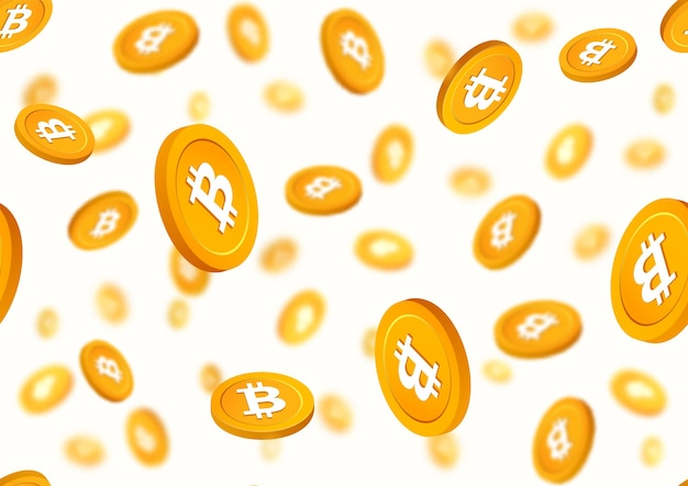 Bitcoin monete d'oro cadendo senza cuciture