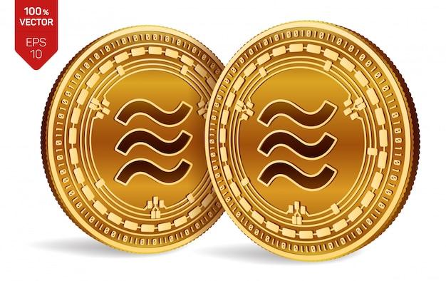 Monete dorate con il simbolo della bilancia isolato su bianco