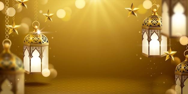 Fanoos appesi di colore dorato e banner a stella con spazio per le copie