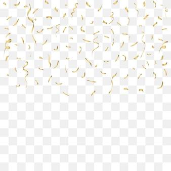 Golden confetti celebration nastri d'oro decorazioni per festival con brillantini brillanti che cadono