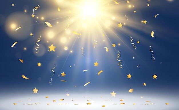Coriandoli dorati cadono su un bellissimo sfondo stelle filanti che cadono sul palco