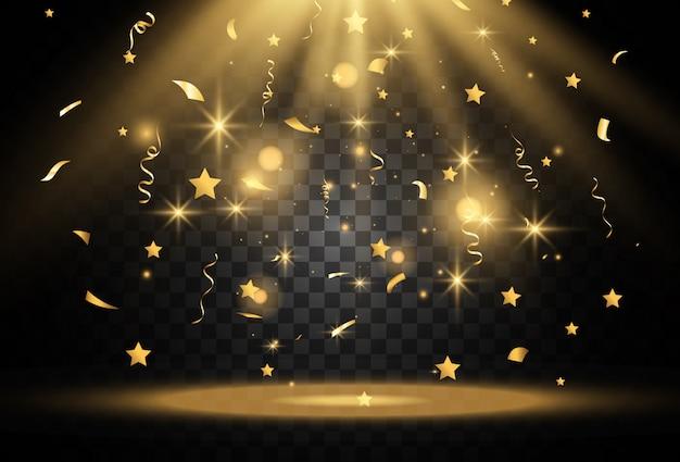 I coriandoli dorati cadono su un bellissimo podio. stelle filanti che cadono su un piedistallo.