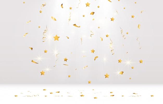 I coriandoli dorati cadono su un bellissimo podio. stelle filanti che cadono