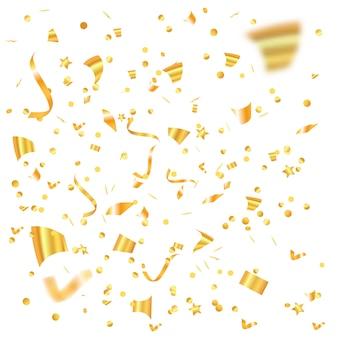 Il coriandoli dorato cade l'arte del partito dell'illustrazione di vettore