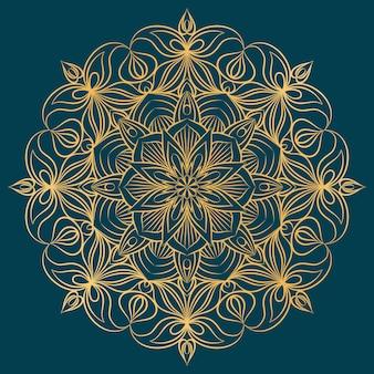 Contorno dorato mandala ornamento, sfondo di elementi decorativi.