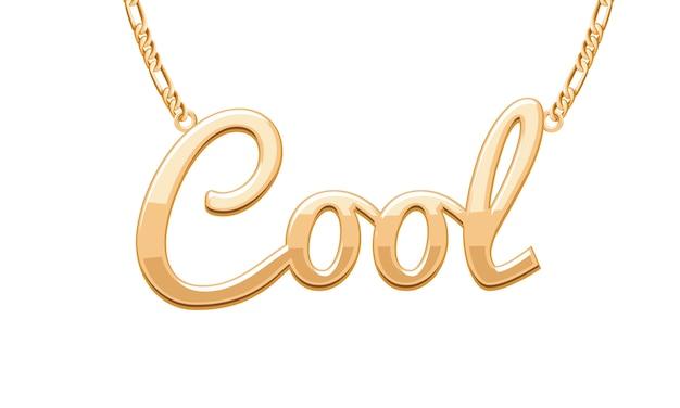 Ciondolo parola cool dorato su collana a catena. gioielleria .