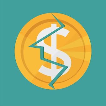 Moneta dorata del dollaro incrinata. simbolo di valuta del denaro americano - la crepa nella moneta, la distruzione, la finanza rotta