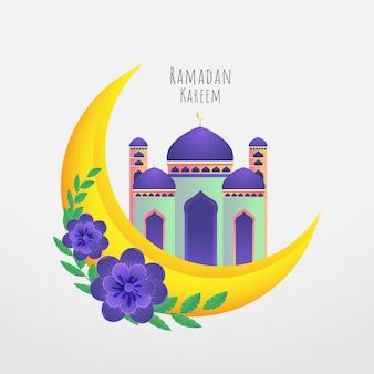 Luna crescente dorata, fiori viola e bellissimo concetto di moschea per il mese santo di ramadan kareem.