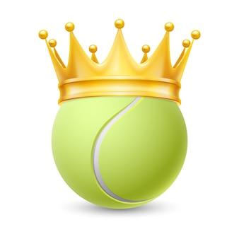 Corona d'oro sulla palla da tennis