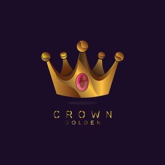 Golden crown logo template vettoriale