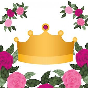 Corona d'oro con icona isolata di rose