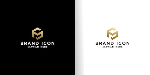 Modello di progettazione logo cubo d'oro