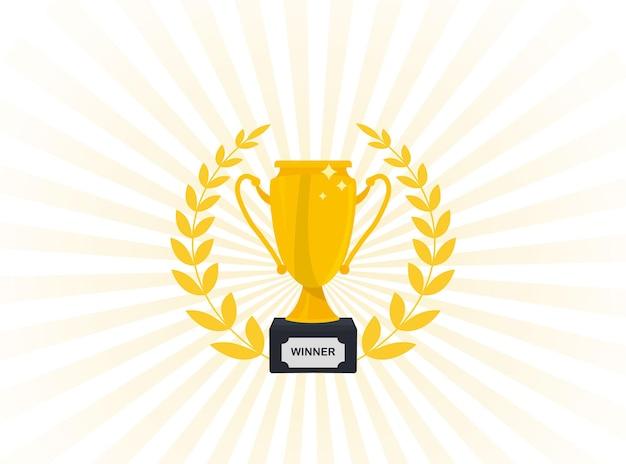 Icona della coppa d'oro. premio per il primo posto. campioni o vincitori. coppa trofeo con corona d'alloro d'oro. premio coppa sport con corona d'alloro. trofeo d'oro