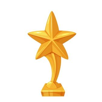 Stella della coppa d'oro. vincitore del primo posto, premio, premio. icona di vettore isolato del trofeo d'oro primo posto in stile cartone animato.