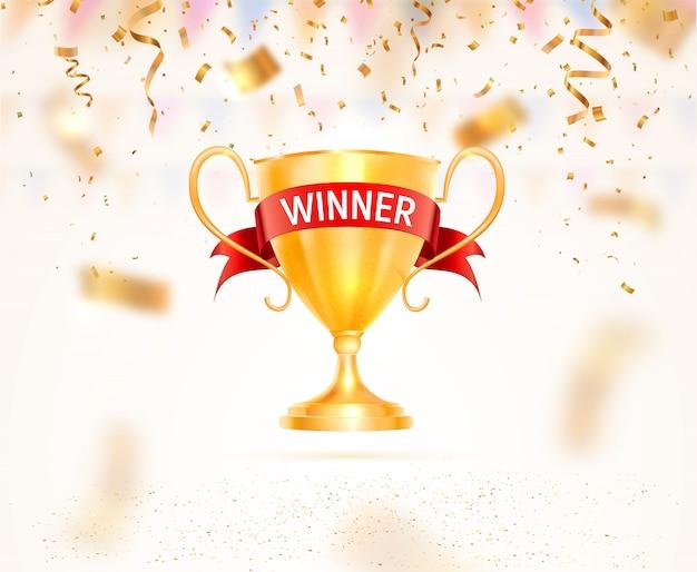 Il trofeo della tazza dorata con il nastro e il vincitore rossi mandano un sms a illustrazione. premio sportivo elevato con coriandoli che cadono
