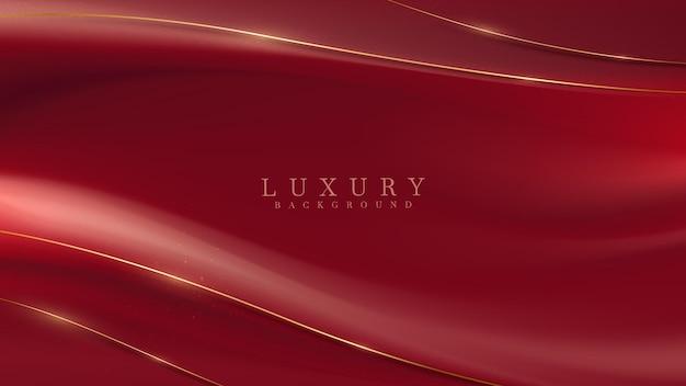 Linee curve dorate di lusso su sfondo di tessuto rosso, design di copertina per testo o prodotto, illustrazione vettoriale.