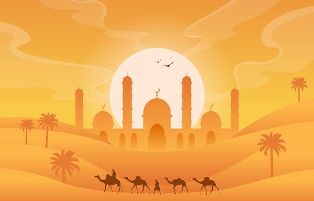 Illustrazione araba del paesaggio dell'albero della palma da datteri della moschea islamica dorata del deserto