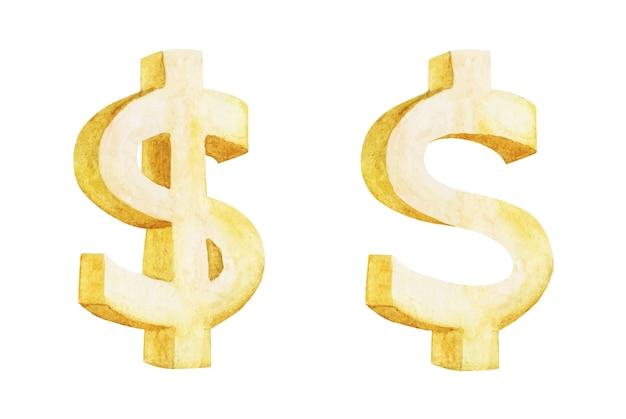 Insieme dorato del segno del dollaro, illustrazione dell'acquerello.
