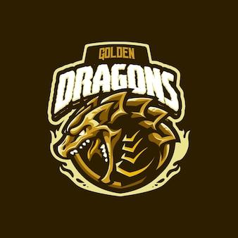 Logo della mascotte del drago d'oro per esport e squadra sportiva