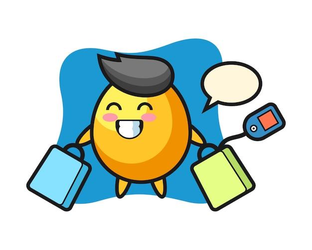 Fumetto dorato della mascotte dell'uovo che tiene un sacchetto della spesa, progettazione sveglia di stile
