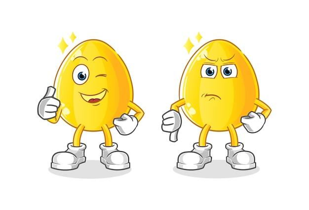 Uovo d'oro pollice in alto e pollice in giù cartone animato. mascotte dei cartoni animati