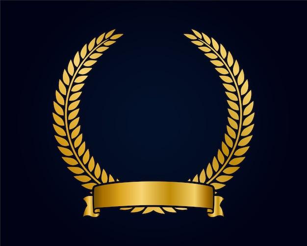 Modello di emblema d'oro per il logo. rami d'oro e nastro. premio della corona.