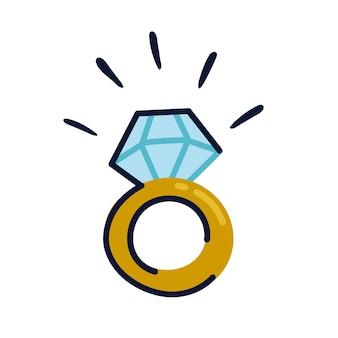 Icona dell'anello di fidanzamento dorato in stile piatto