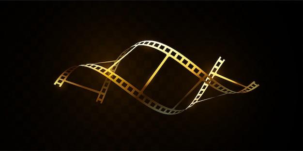 Striscia di pellicola dorata isolata su fondo nero. illustrazione 3d striscia di pellicola a forma di dna. concetto di cinema.