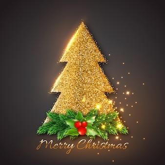 Abete dorato con rami di abete decorativo natalizio e agrifoglio. luci incandescenti oro, sfondo nero.